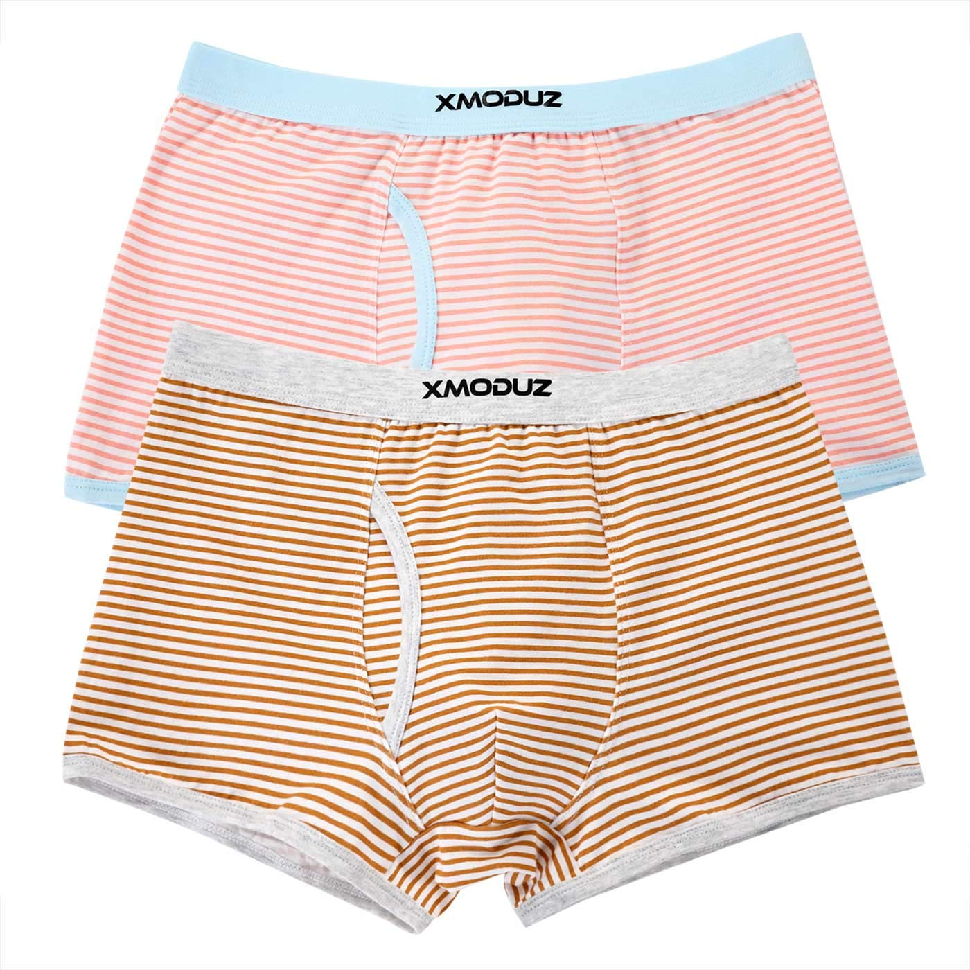 Xiaomaoduizhang Toddler Little Boys Soft Cotton Boxer Briefs Underwear 2 Pack Boys' 2-Pack Athletic Pink+Brown 110cm