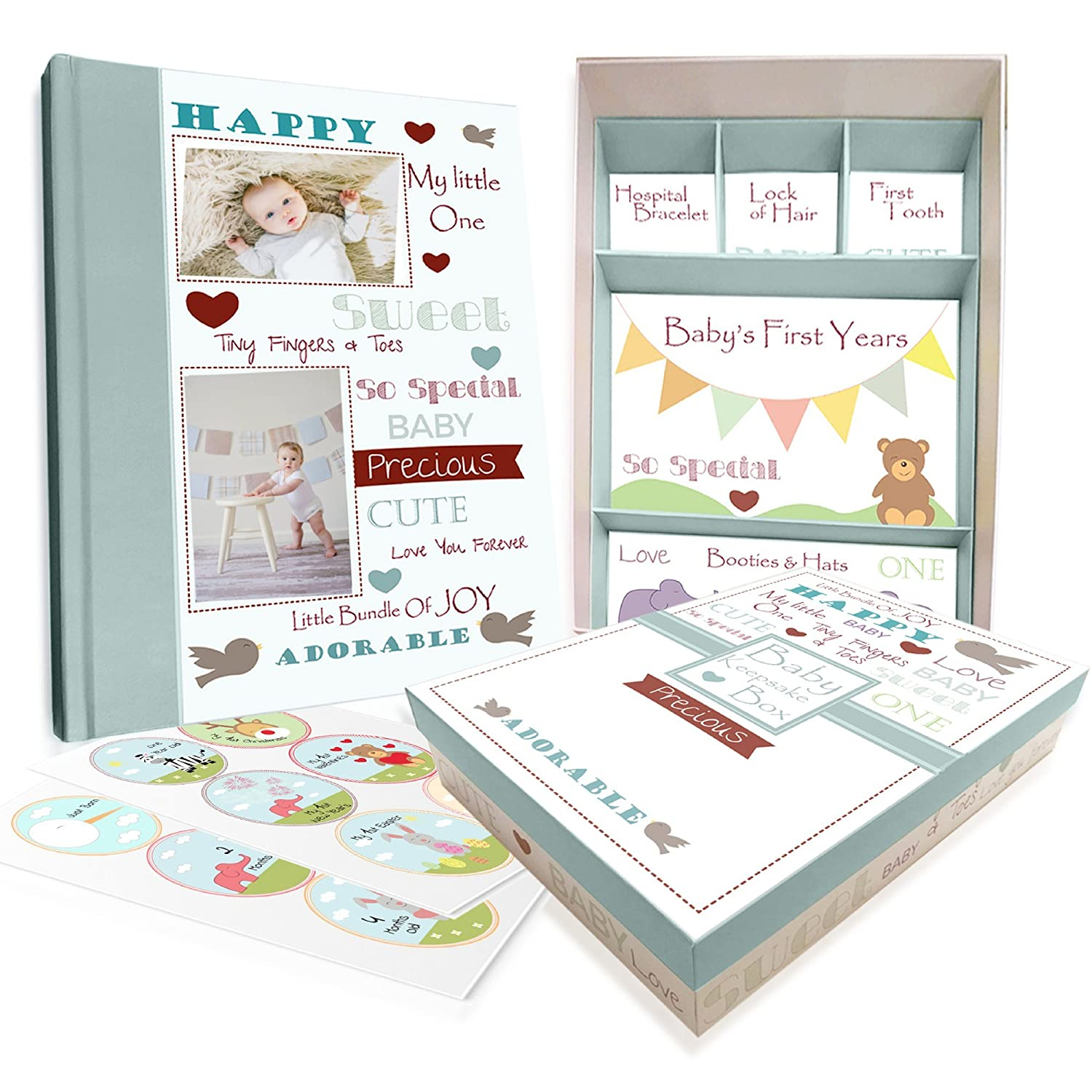 Baby Memory Book w/Keepsake Box & 30 Monthly & Baby First Milestone Stickers - Gender Neutral Scrapbook Album for Boys & Girls Next Mommy