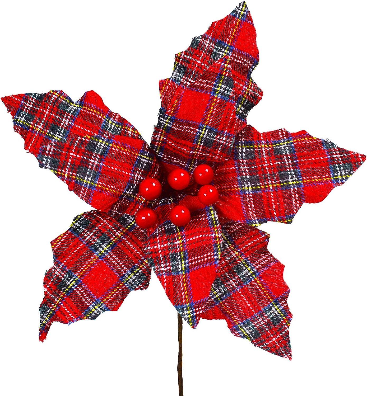 Supla 6 Pcs Christmas Red Tartan Plaid Poinsettia Picks with Red Berries Christmas Tree Ornaments 8.7