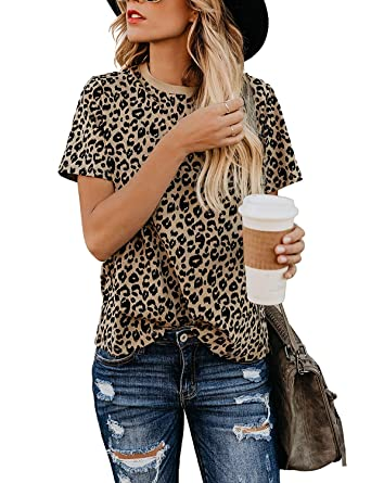 432680b41e3d Womens Shirts Leopard Print Round Neck Cute Tops Basic Casual Short Sleeve  Soft Blouse (leopard1