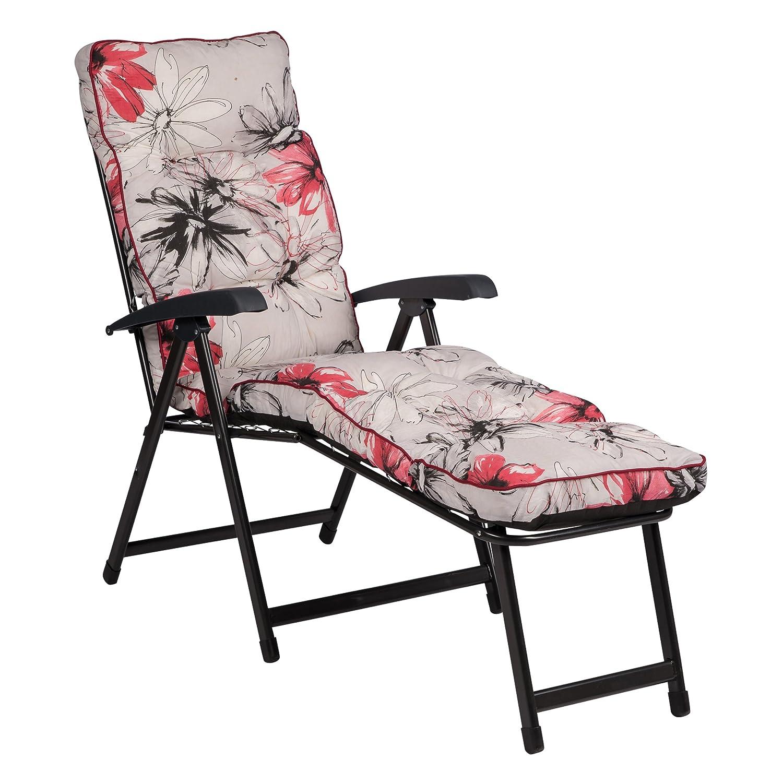Deckchair LENA 13002-03, grau-rot, Relaxliege mit Auflage, klappbar, LILIMO ®