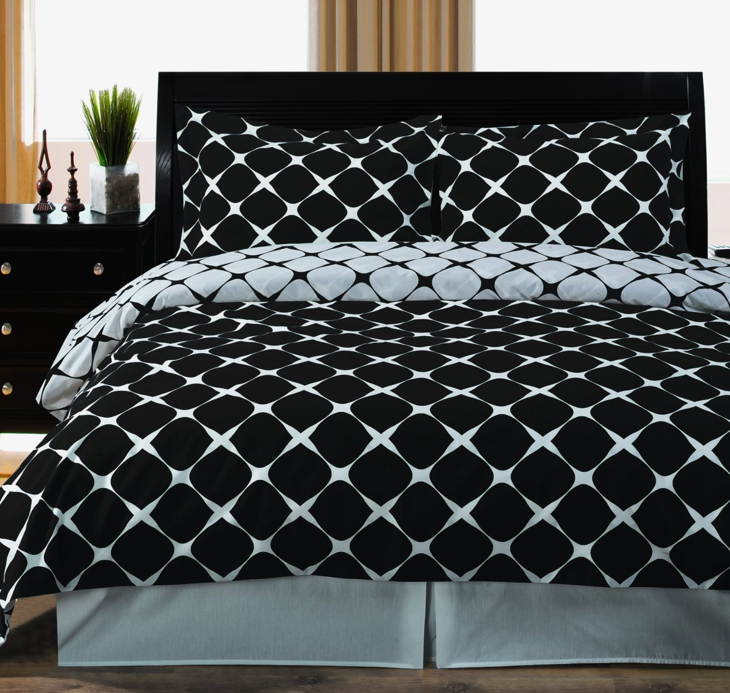 Full / Queen Bloomingdale 3pc Duvet Cover Set Black & White