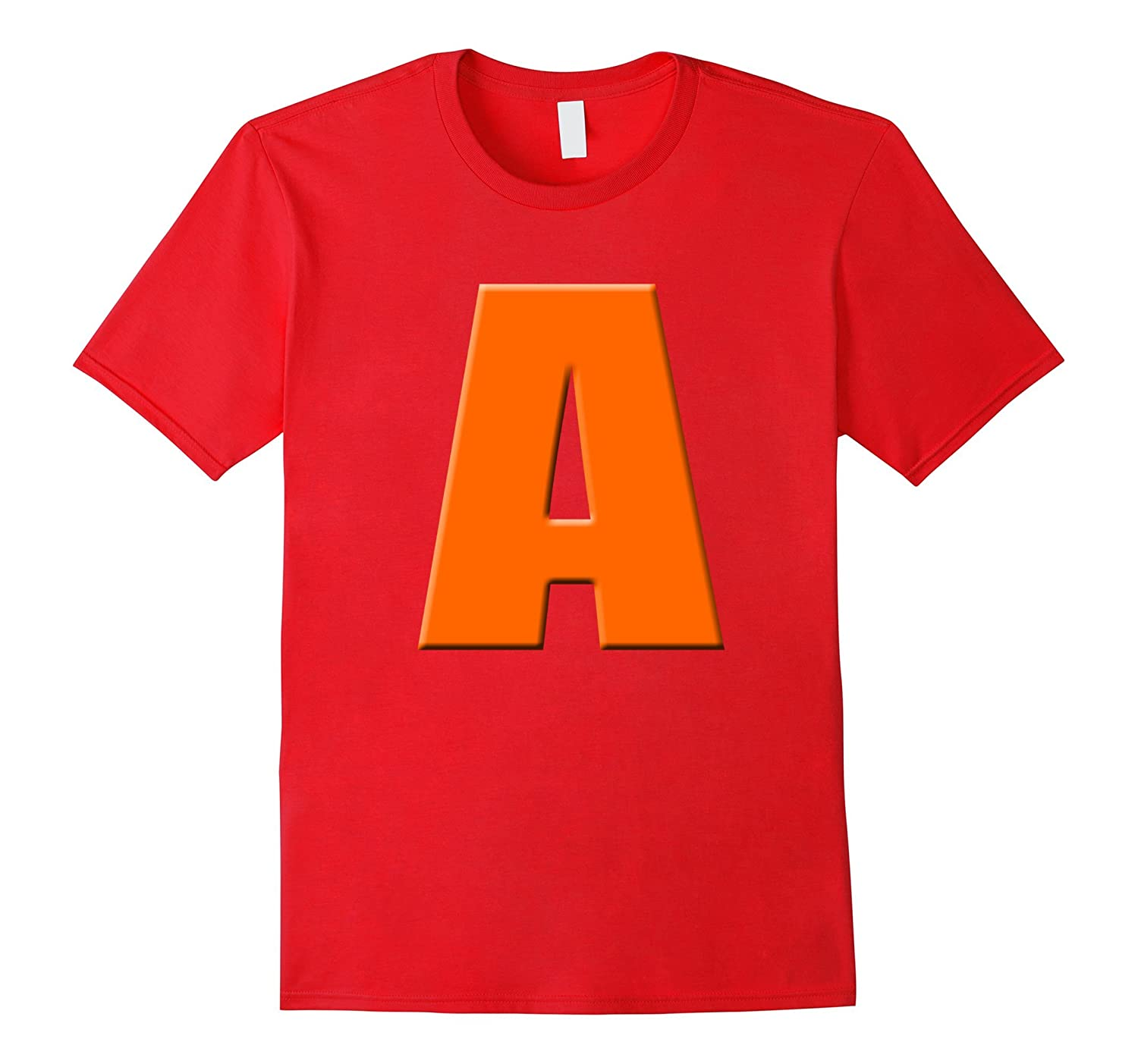 Kids Red cranberry color letter A halloween costume 2d tee-FL