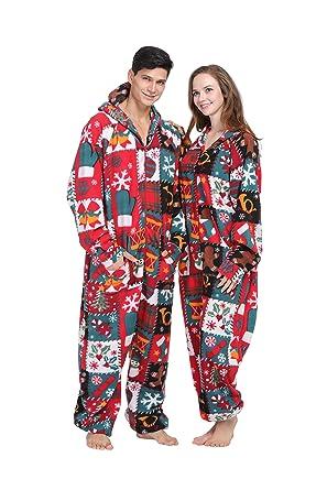 184145e882 PartyPajama Women s   Men s Christmas Style Fleece Hooded Onesies One-Piece  Pyjamas Costume (XX