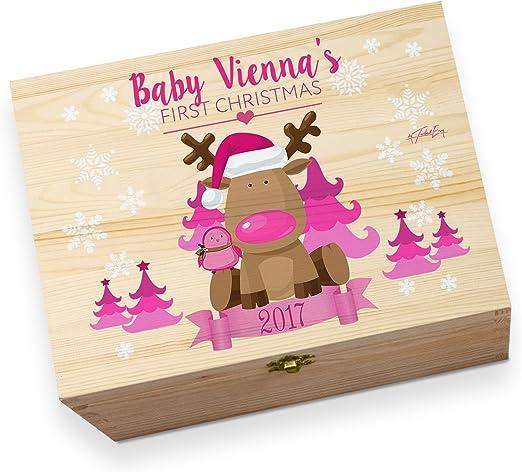 Feliz Navidad Color Rosa Bebé Personalizado impreso madera ...