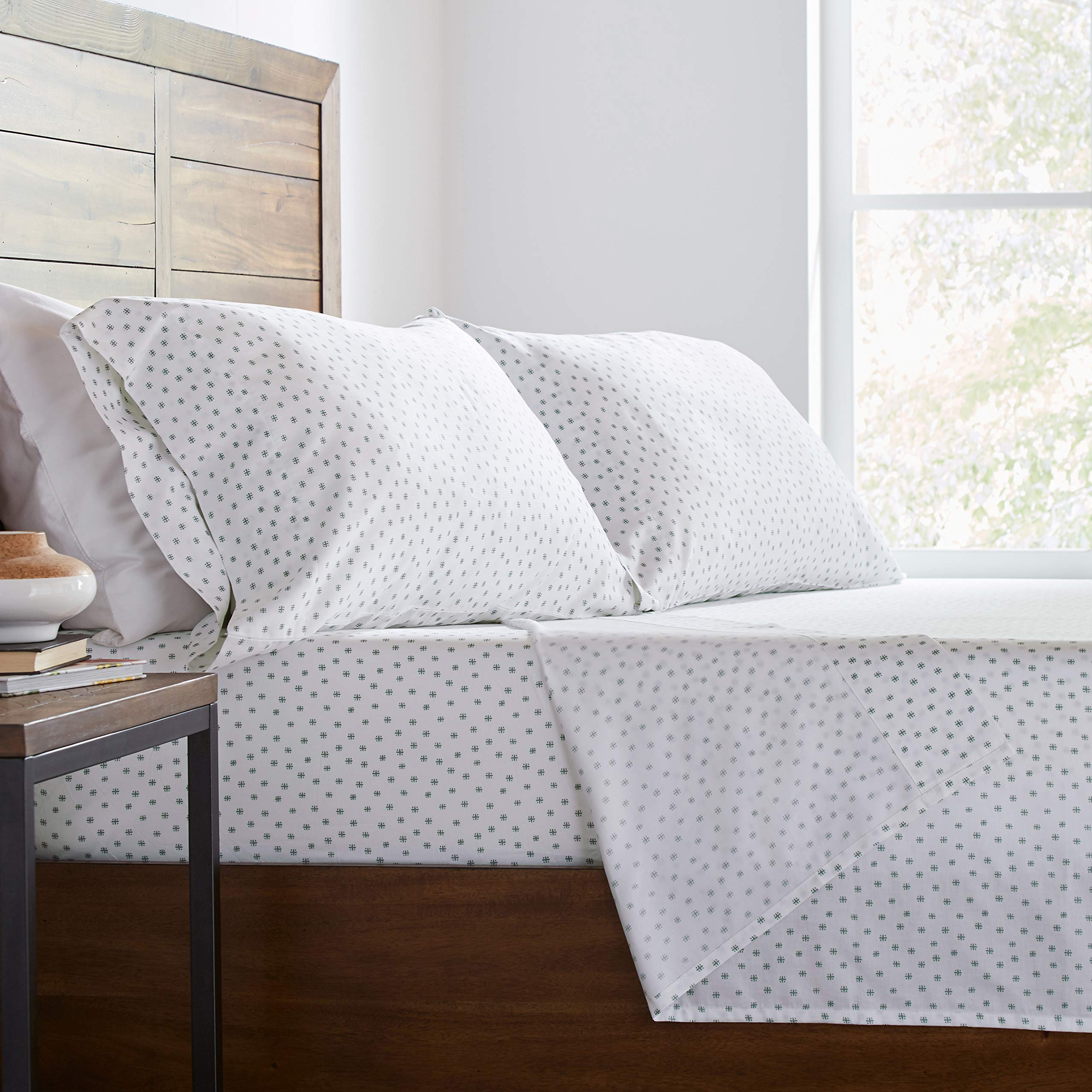 Stone & Beam Starburst 100% Cotton Sateen Sheet Set, Queen, Oasis by Stone & Beam (Image #3)