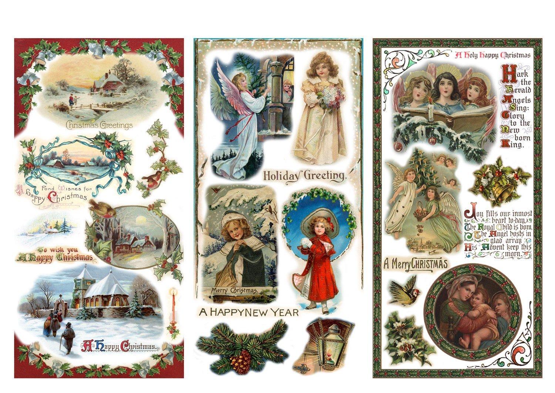 Decoupage Paper Pack Christmas Eve Angels Santa FLONZ Vintage Ephemera 12 Sheets A4 // 8x11