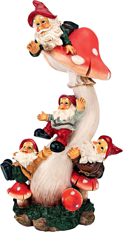 Garden Gnome Statue - Gnome Garden Mushroom Madness Statue - Gnome House - Fairy Garden - Birdhouse
