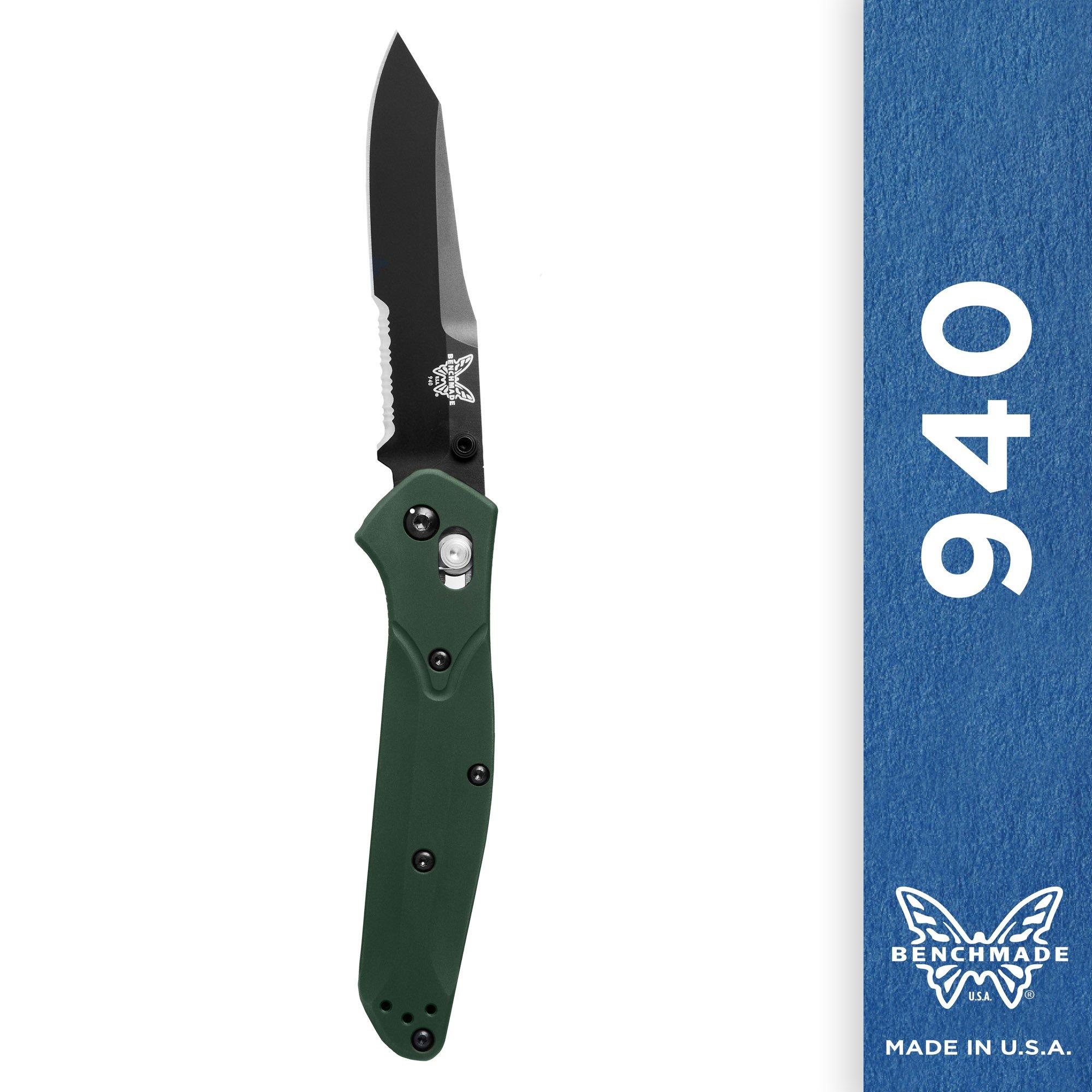 Benchmade Knife 940SBK Black Combo Edge Blade, Green Aluminum Handle