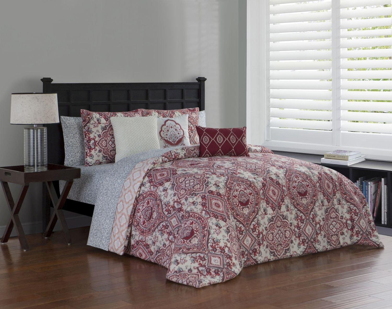 Amazon.com: Avondale Manor Nina 10-Piece Comforter Set, King, Red: Home &  Kitchen