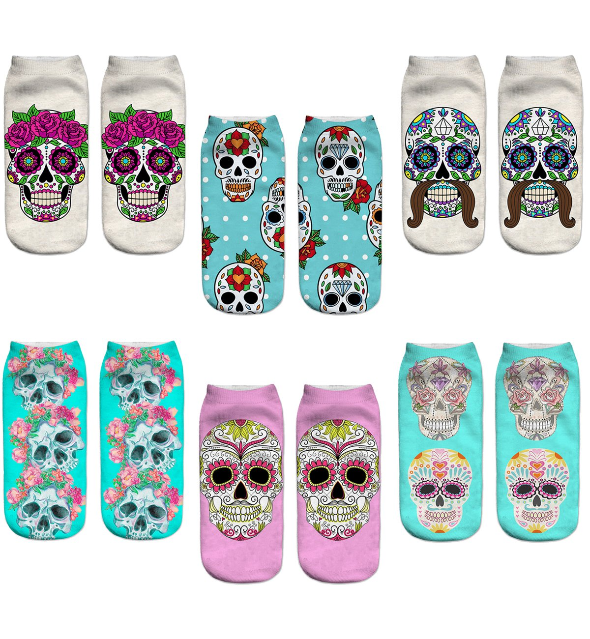 Women's 3D Cartoon Print Funny Smiley Casual Crazy Novelty Ankle Socks Value Pack (skull 1) by Footalk (Image #1)