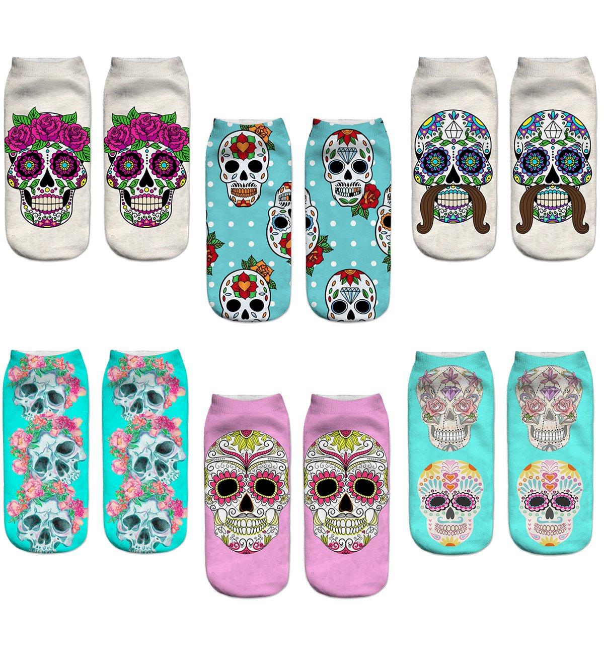 Women's 3D Cartoon Print Funny Smiley Casual Crazy Novelty Ankle Socks Value Pack (skull 1)