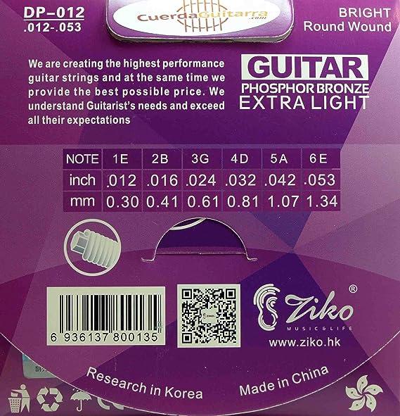 2 Juegos de cuerdas ZIKO DP-012 para Guitarra Ac/ústica Phosphor Bronce calibre 012-053