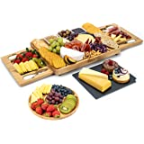 Smirly Cheese Board and Knife Set - Charcuterie Board/Organic Bamboo Cheese Platter with Accessories Drawer, 4PC Cheese Knife