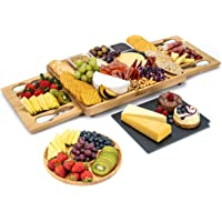 Smirly Cheese Board and Knife Set - Charcuterie Board/Organic Bamboo Cheese Platter with Accessories Drawer, 4PC Cheese…