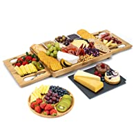 SMIRLY Cheese Board and Knife Set: Large Charcuterie Board Set, Cheese Platter Board, Bamboo Cheese Board with Cutlery Set, Cheese Tray, Wooden Cheese Board Set, Cheese Cutting Board Set, Cheese Plate