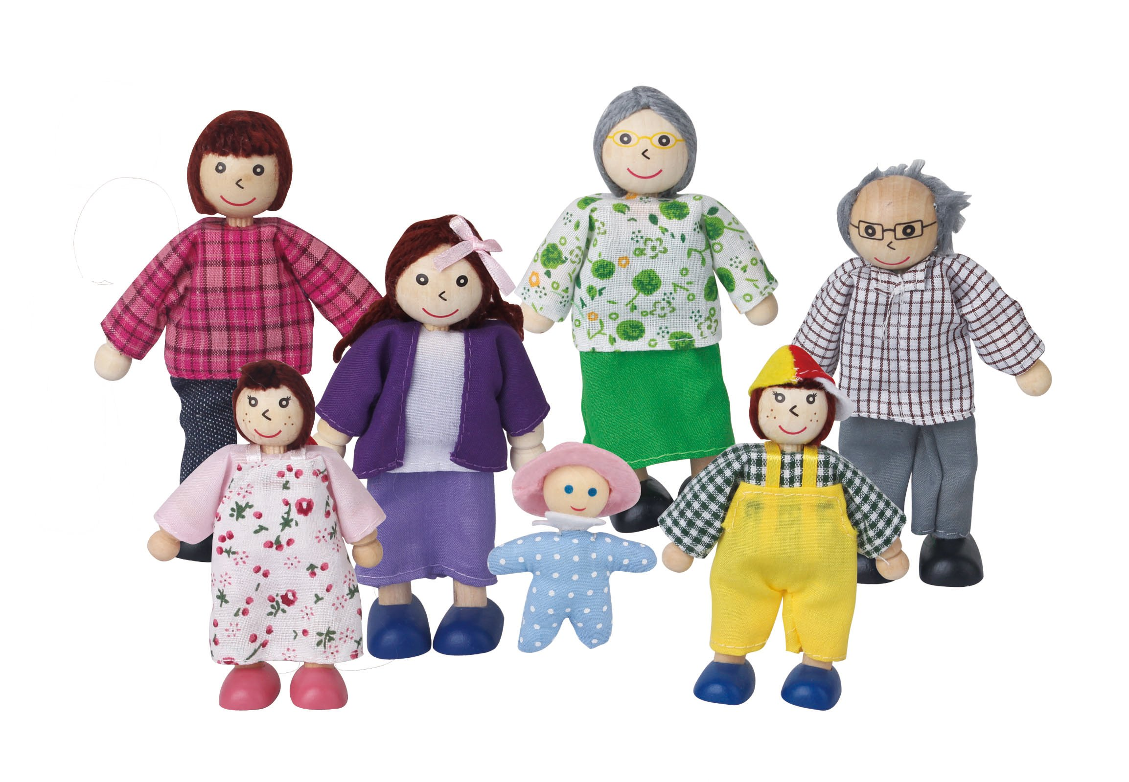 Lelin Wooden Family Set Doll House Figures Childrens Pretend Play Toy