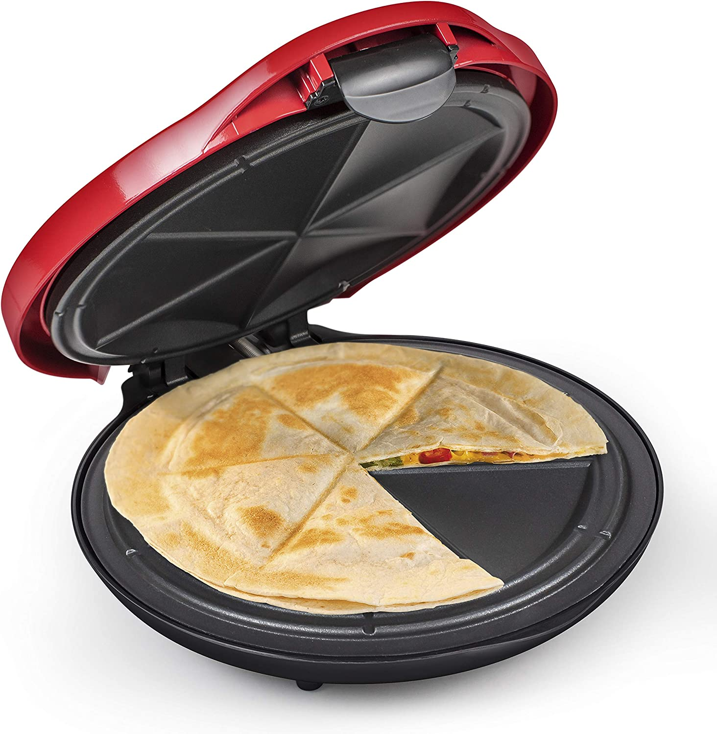 Nostalgia Taco Tuesday Deluxe 10-Inch 6-Wedge Electric Quesadilla Maker with Extra Stuffing Latch, Red