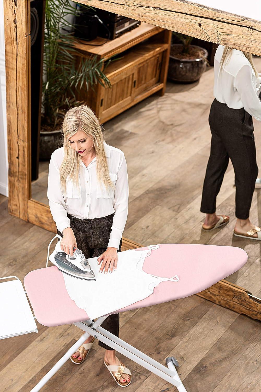 rosa Lengenstein/® B/ügelbrettbezug mit Komfortpolsterung 120x40 B/ügeltischbezug f/ür Dampfb/ügeleisen inklusive Spannclips und B/ügelschutztuch