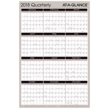 AT A GLANCE Quarterly Wall Planner January 2018