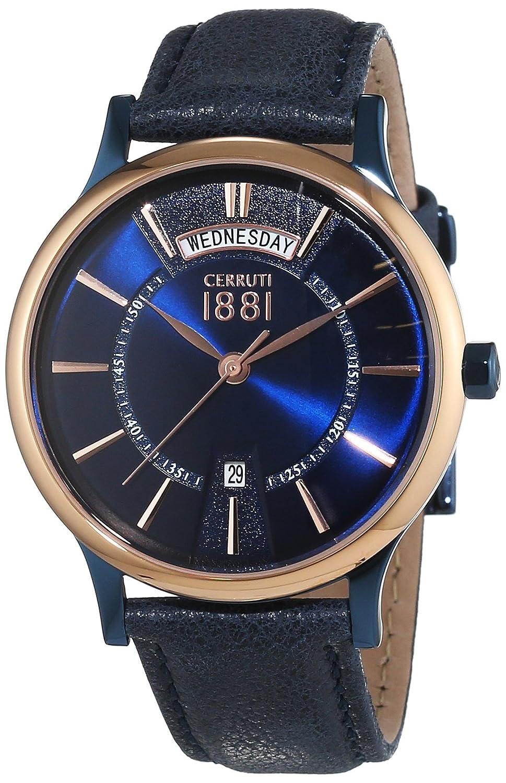 Cerruti 1881 Herren-Armbanduhr VARALLO Analog Quarz Leder CRA128SBLR03BL