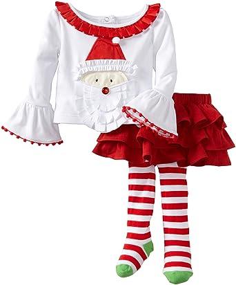 8342fee32 Amazon.com  Mud Pie Baby Girls  Santa Ribbon Skirt Set  Infant And ...