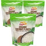 Shredded Coconut Flakes Organic Unsweetened 8 Ounce Bag (Pack of 3) Desiccated Gluten-Free Sugar-Free, Great for Vegan Paleo