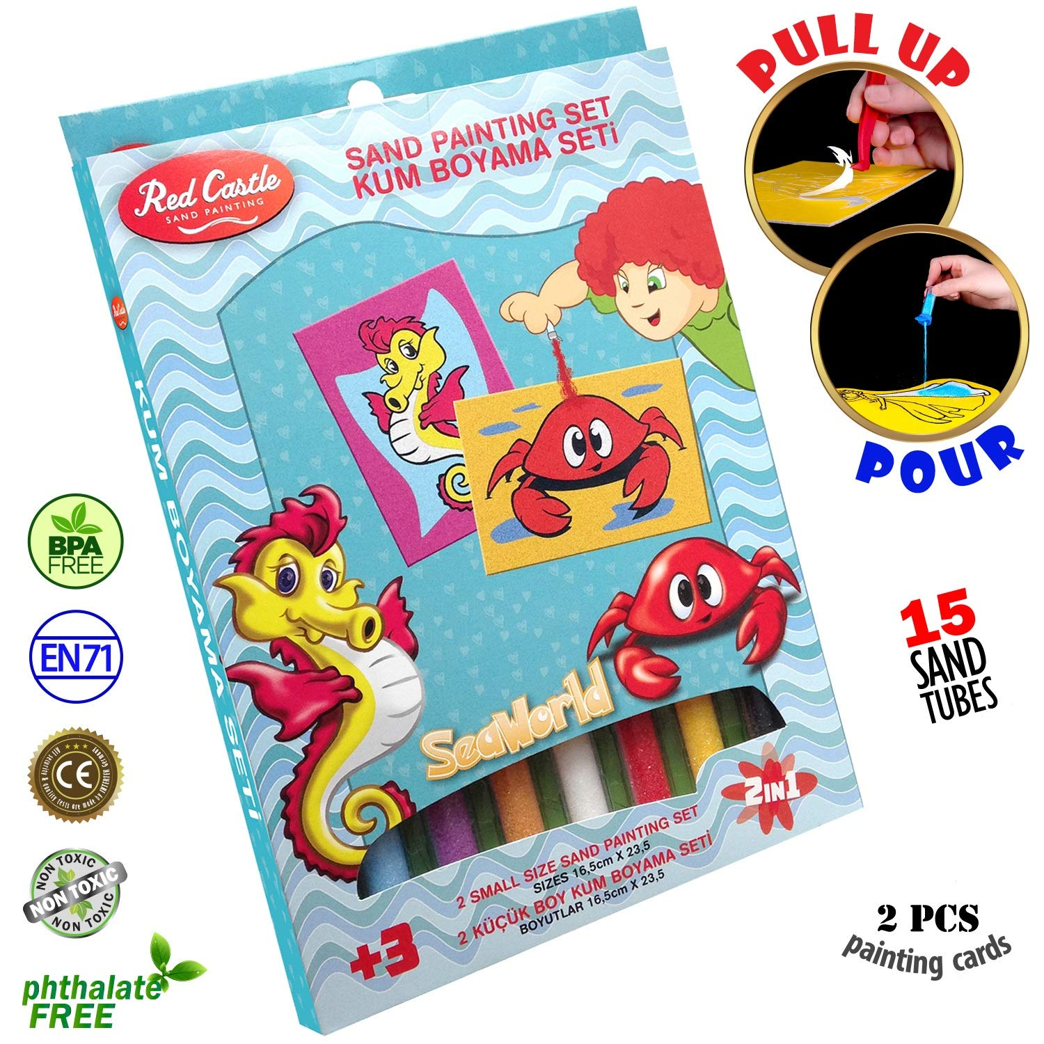 New in USA.. The most Famous Sand Art Kits for Kids in All Europe. RED CASTLE Sand Painting Art Kits, Colored Sand Painting, DIY Learning Craft Kit, 15 Colored Sand Tubes - SEAHORSE & CRAB