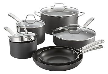 calphalon classic nonstick cookware set 10piece grey