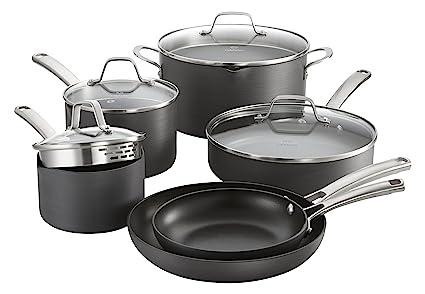Calphalon Classic Nonstick Cookware Set 10 Piece Grey 1945597