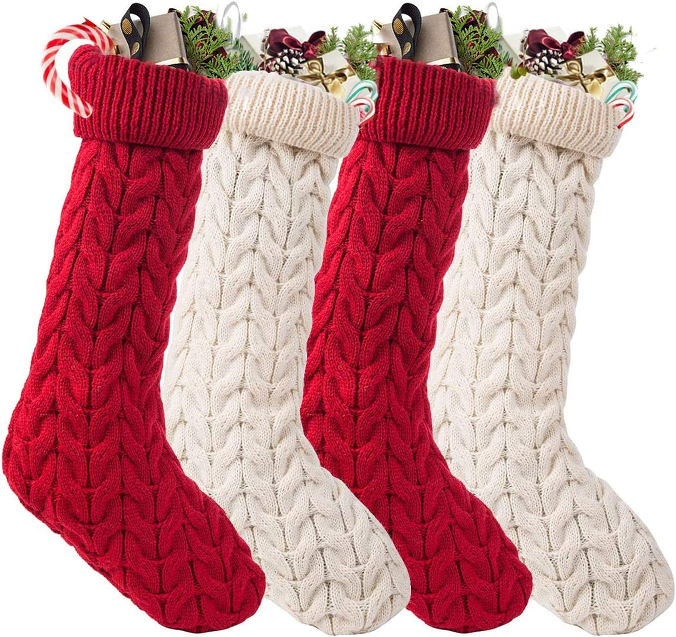 Knitted Christmas Stockings 4 Pack,18 Inches Large Size Cable Knit Personalized Christmas Stocking Decorations, Cream and Burgundy Color for Family Holiday Xmas Party Decor