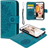 iPhone 6 6S Wallet Case, iPhone 6 6S Case PU Leather Embossed Mandala Florals TPU Cover Magnetic Detachable Wallet Card Slots Wrist Strap Case for iPhone 6 6S 4.7 inch Blue