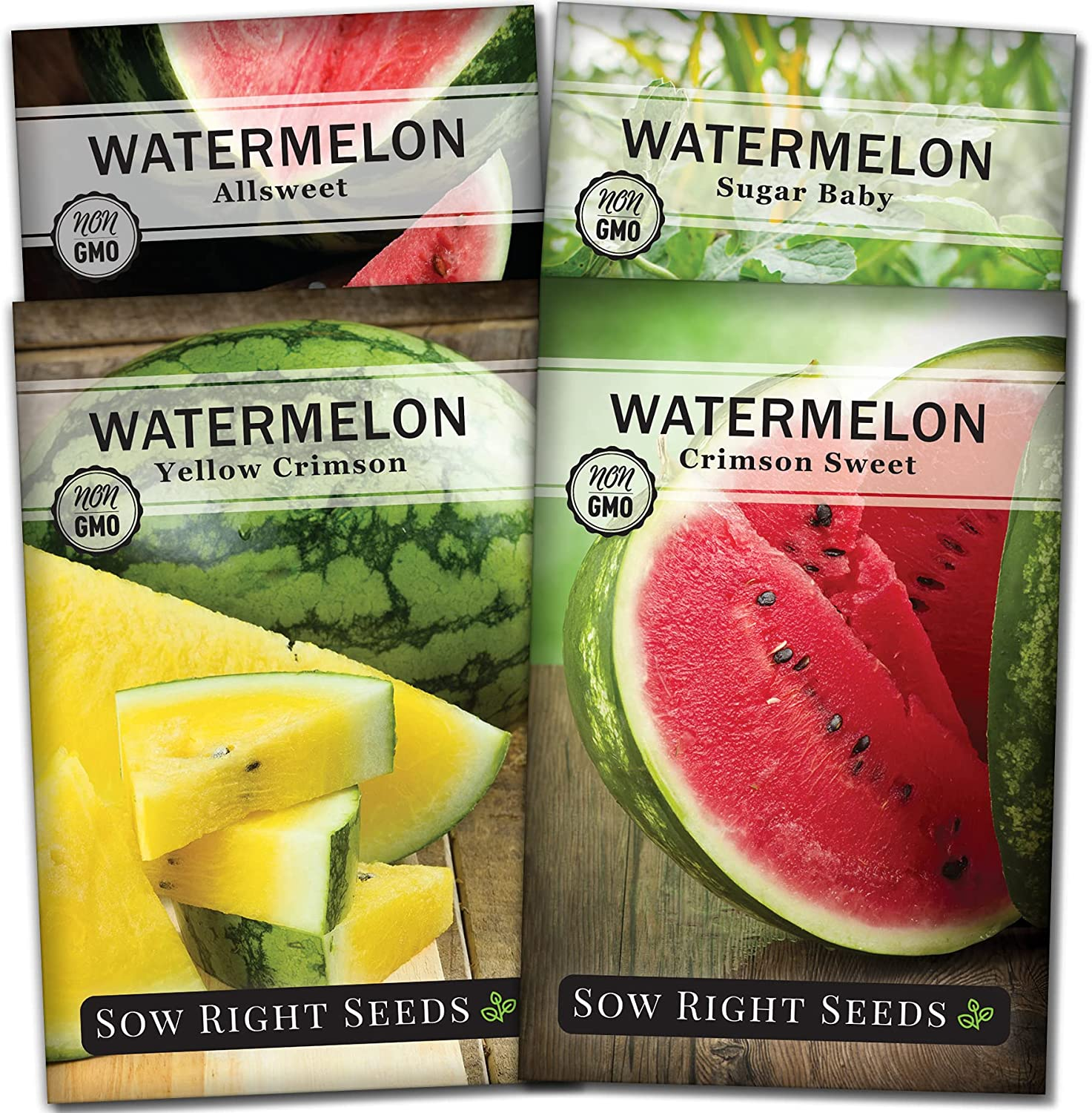 Sow Right Seeds - Watermelon Seed Collection for Planting - All Sweet, Crimson Sweet, Sugar Baby, and Yellow Crimson Melons. Non-GMO Heirloom Seeds to Plant a Home Vegetable Garden