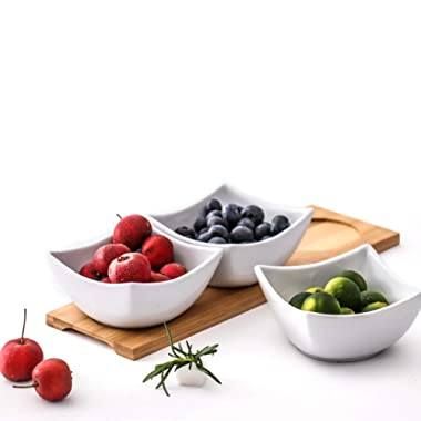 Clean White Ceramic Bowl, Bamboo Wood Tray,Fruits,Condiments,Appetizer Tray and Desserts Serving Tray ,(5.5In 3 bowls, 1 wooden pallets)