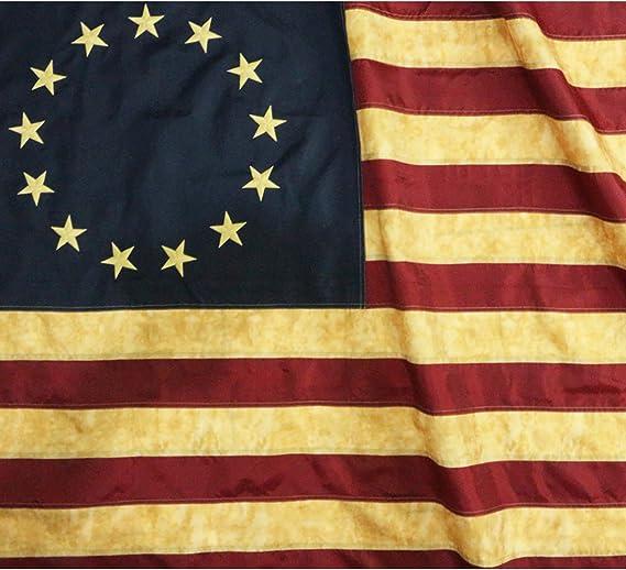 Anley Estilo Vintage, Estilo Teñido con Té, Bandera Betsy Ross 90x150 cm, Nylon - Estrellas Bordadas y Franjas Cosidas - Asegurada con 4 Filas de Costura - Envejecida Antigua Banderas: Amazon.es: Jardín