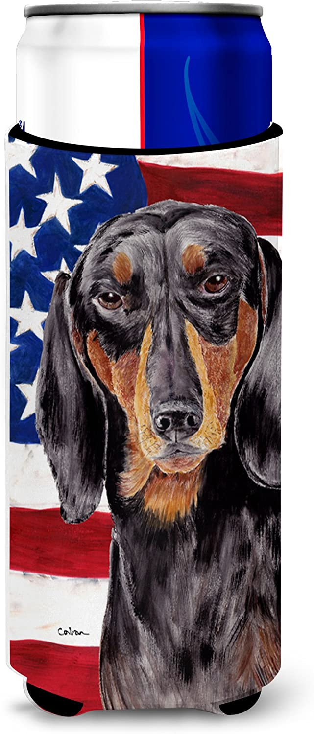 Caroline's Treasures SC9003MUK USA American Flag with Dachshund Ultra Beverage Insulators for slim cans, Slim Can, multicolor