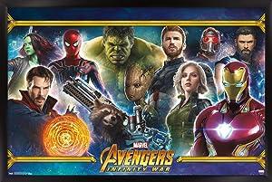 "Trends International Marvel Cinematic Universe - Avengers - Infinity War - Team Wall Poster, 22.375"" x 34"", Black Framed Version"