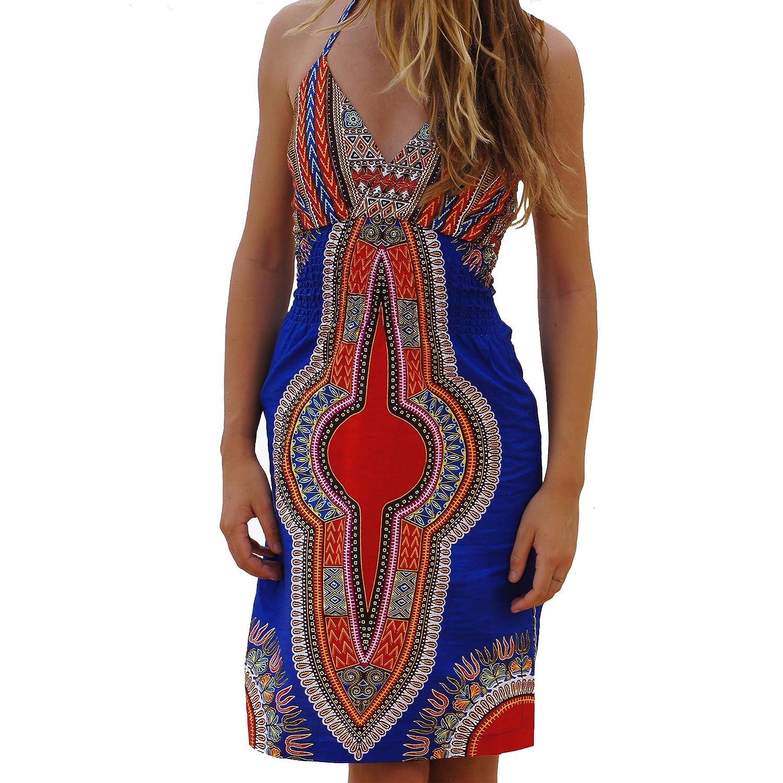 100% Cotton Vivid Print Beach Dress - Dutch Wax Festival Tribal African Boho Hippy Dashiki