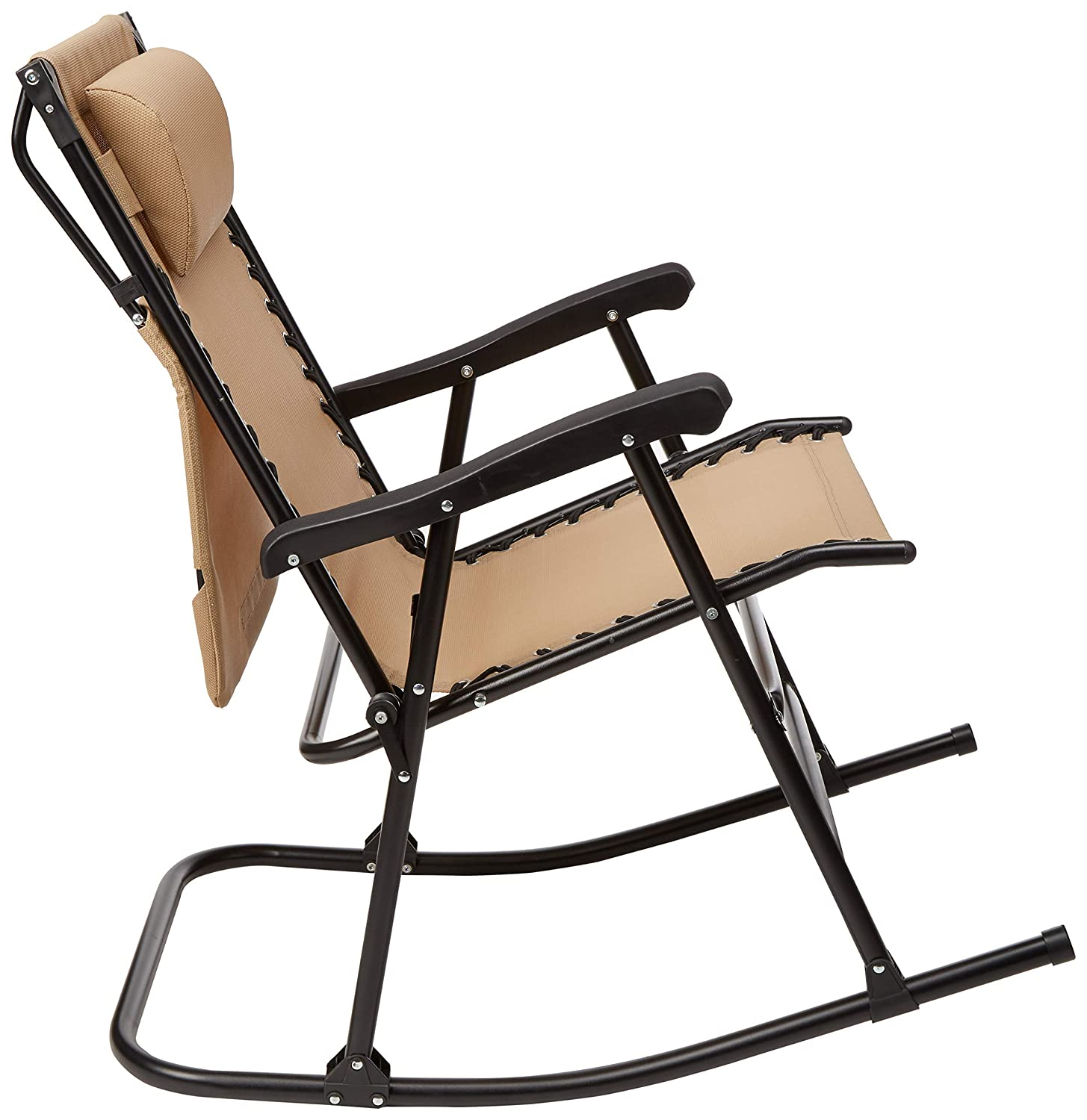 Beige Basics Foldable Rocking Chair with Canopy Renewed