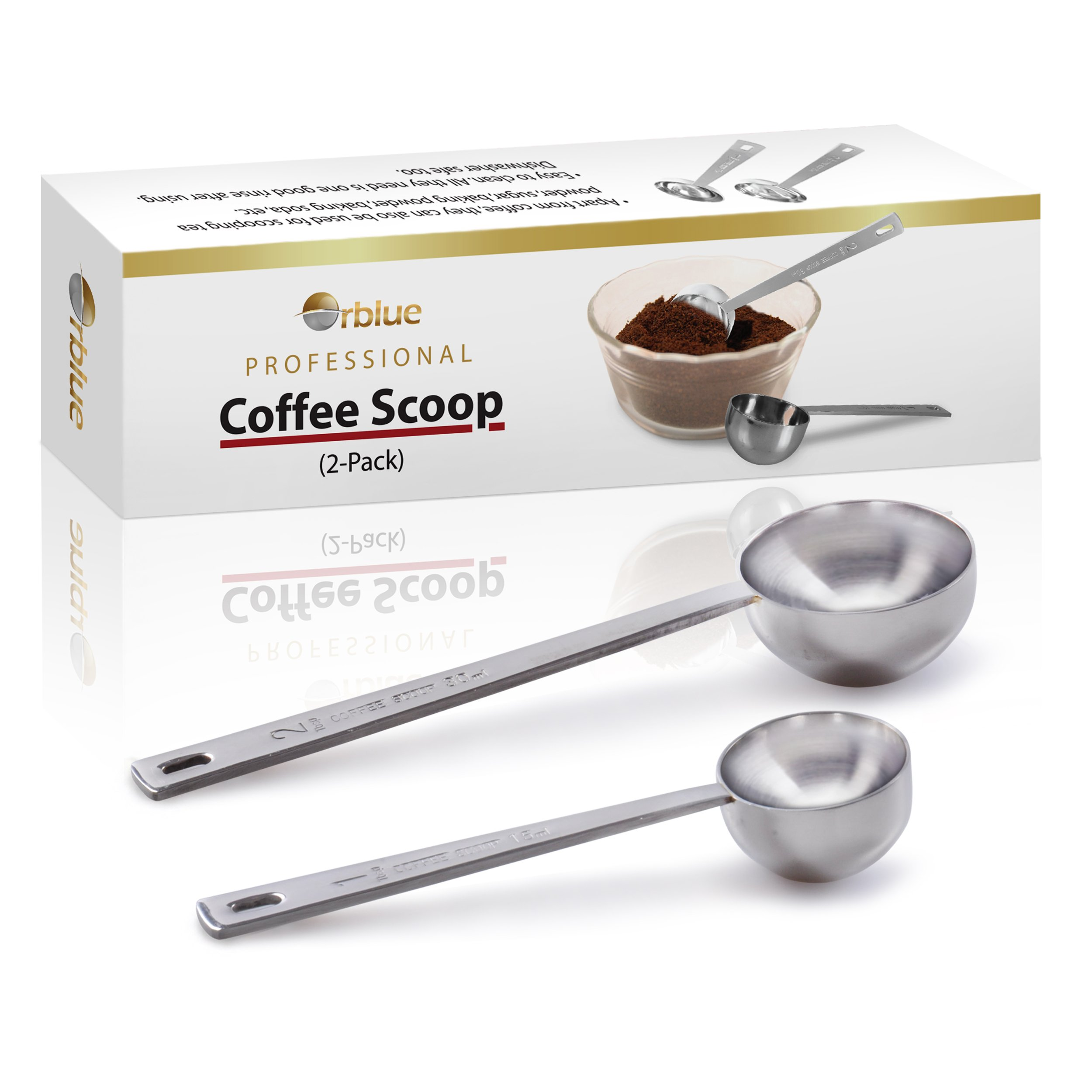 Orblue Coffee Scoop, Stainless Steel, long handled Spoons, Pack of 2 by Orblue