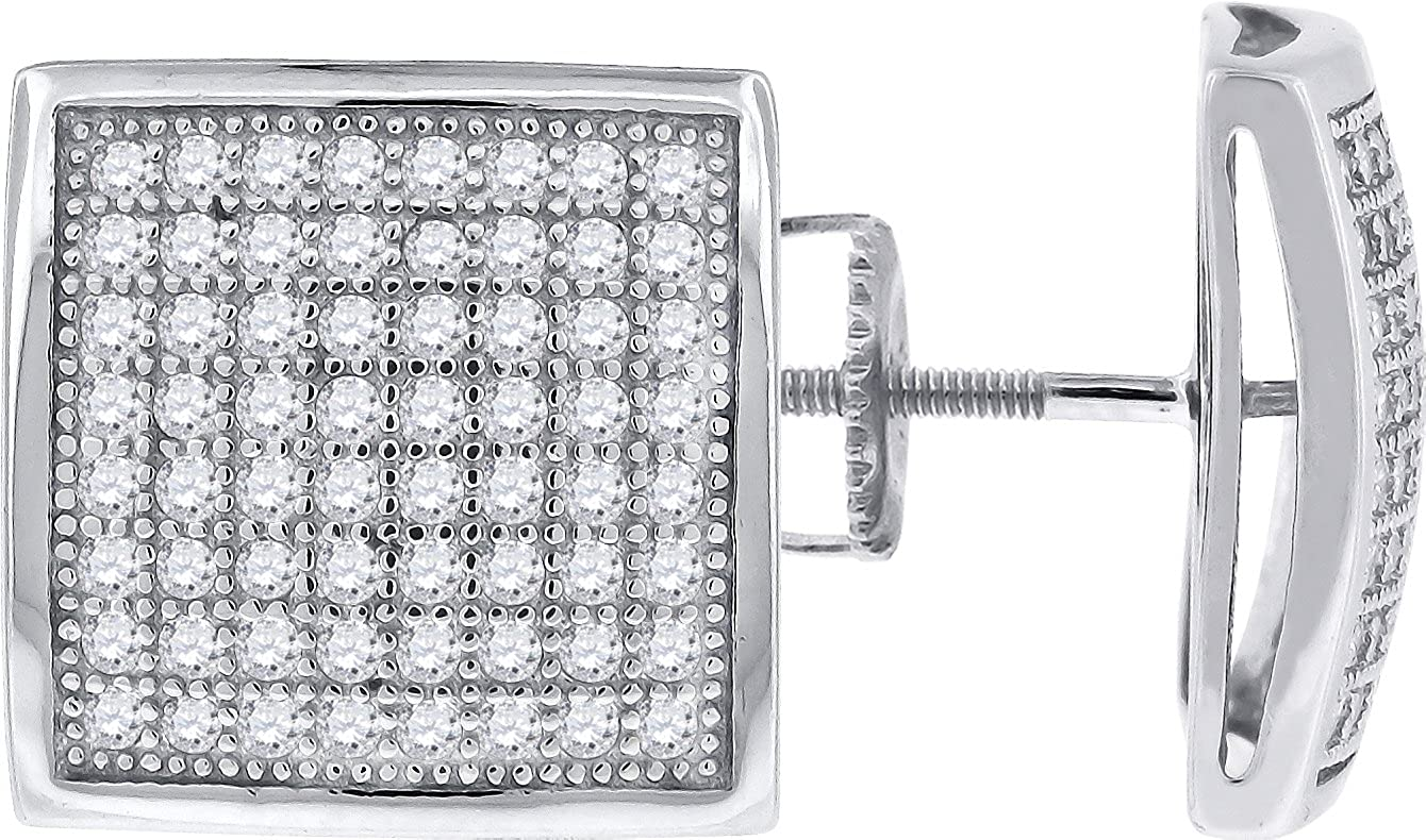 FB Jewels 925 Sterling Silver Unisex Cubic Zirconia CZ Dome Square Stud Screw Back Earrings