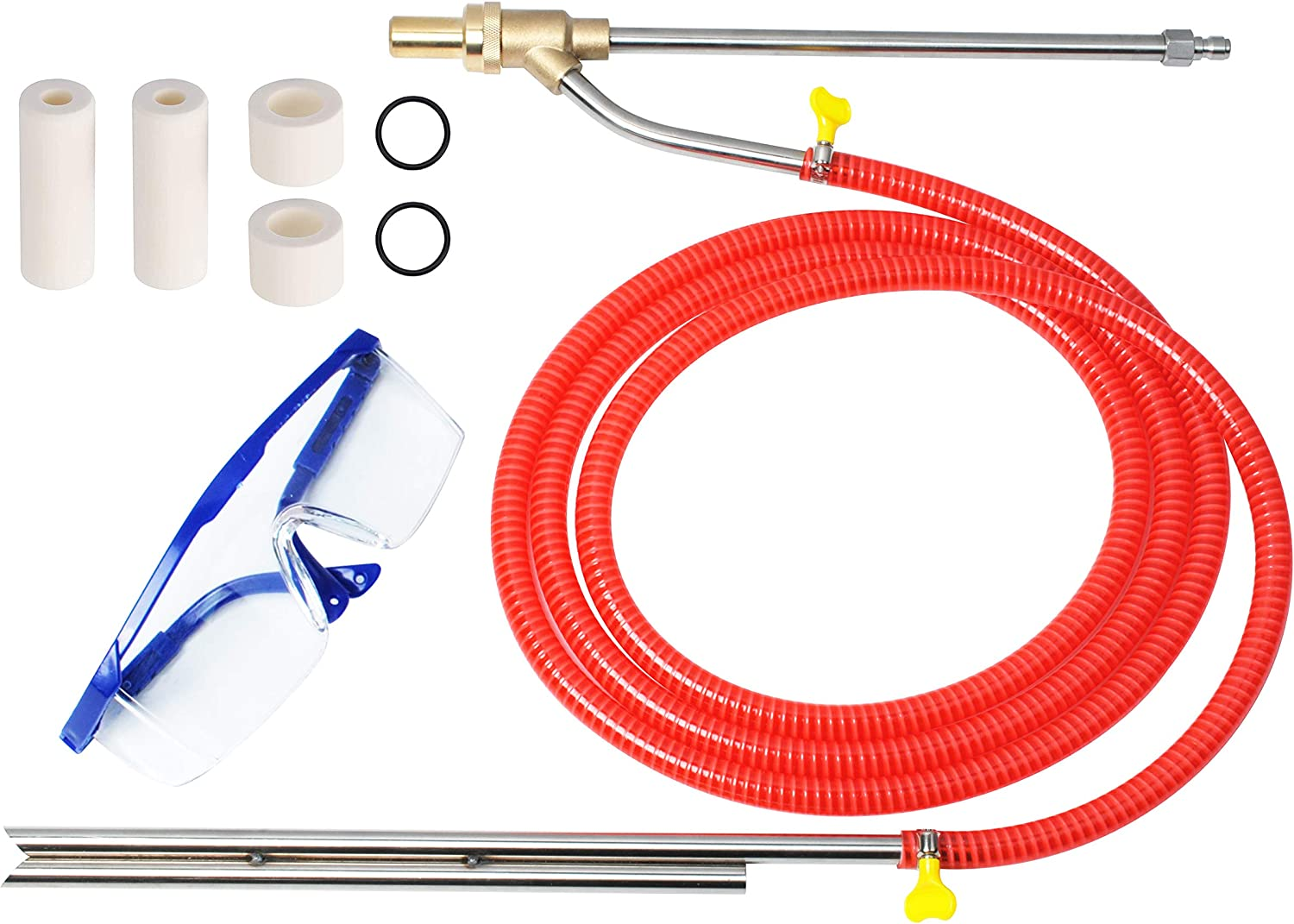 Pressure Washer Sandblasting Kit, Wet Sandblaster Attachment, with Replacement Nozzle Tips, 5000 PSI, 1/4 Inch Quick Disconnect