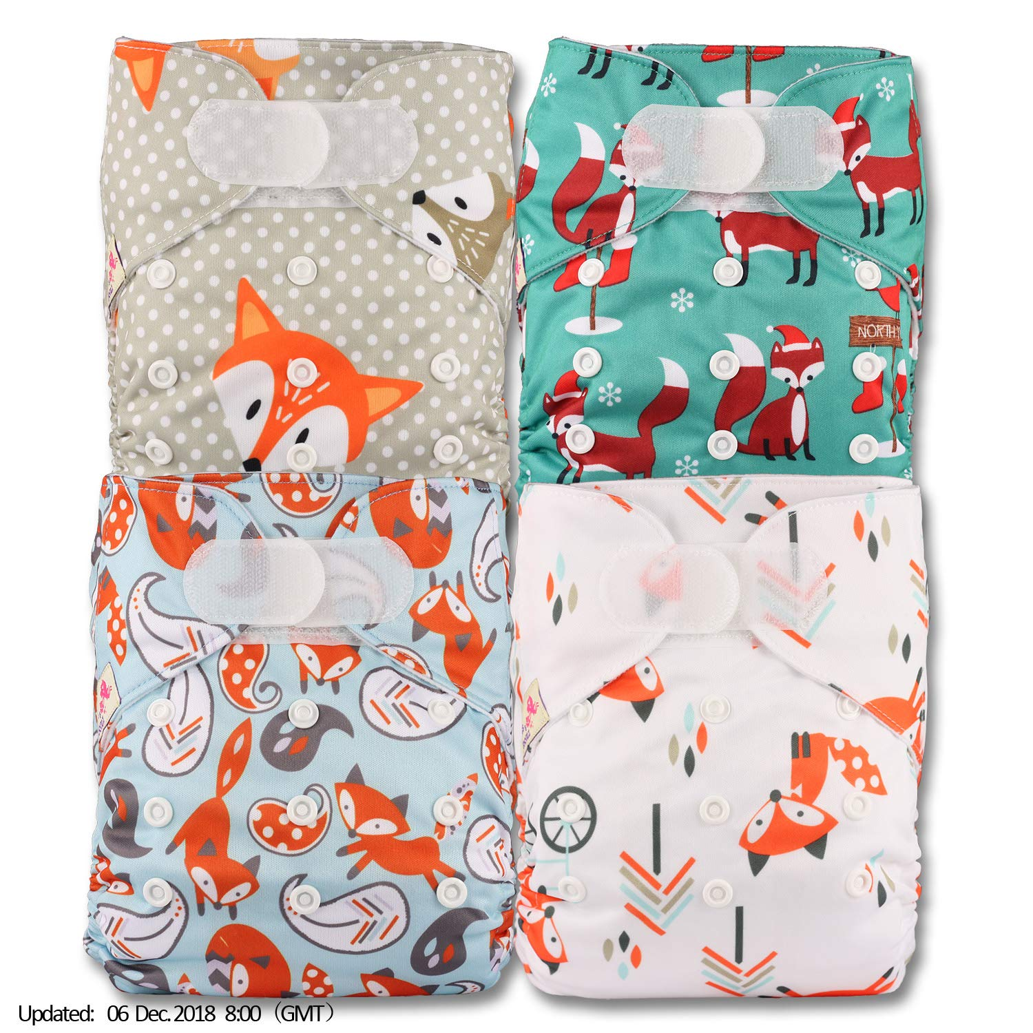 Patterns 408 with 4 Bamboo Inserts Littles /& Bloomz Fastener: Hook-Loop Set of 4 Reusable Pocket Cloth Nappy