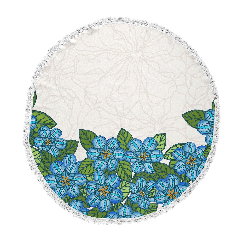 Kess InHouse Art Love Passion Flower Field Beige Blue Round Beach Towel Blanket