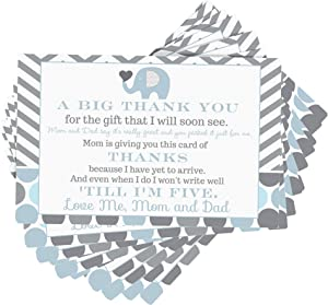 Blue Elephant Baby Shower Postcard Thank You (15 Pack) No Envelopes Cards Only - Boys Little Peanut Party Supplies - Notes - Eco-friendly