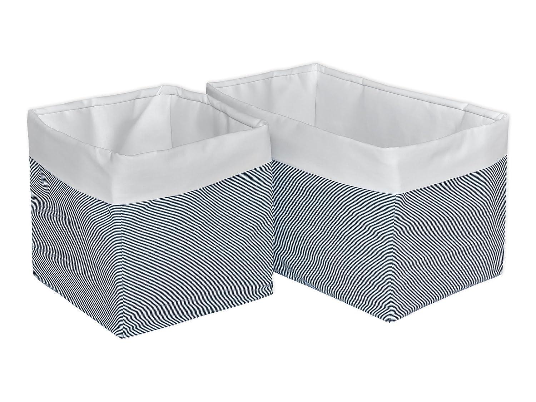 Gr/ö/ße 20 x 20 x 20 cm KraftKids Stoff-K/örbchen in Uniweiss d/ünne Streifen dunkelblau Aufbewahrungskorb f/ür Kinderzimmer Aufbewahrungsbox f/ürs Bad