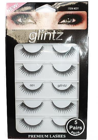 e96185c4a7b Amazon.com : Glintz Premium Lashes 5 pair includes eyelash glue Amazing  Shine #333 : Beauty
