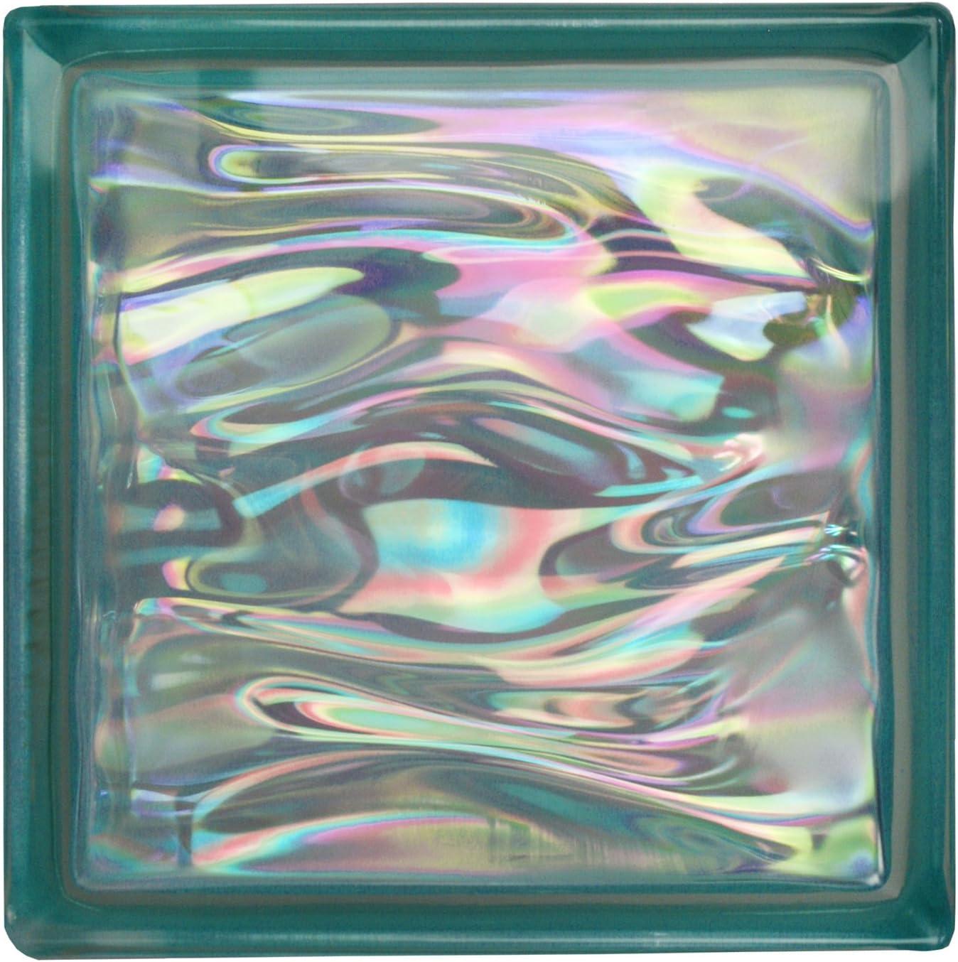6 pi/èces BM briques de verre AQUA nacre /émeraude 19x19x8 cm