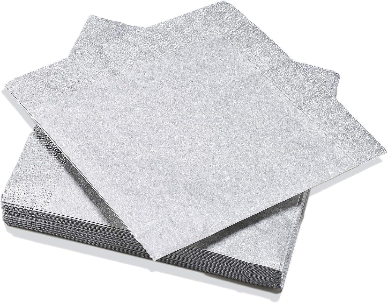 Le Nappage - Servilletas de plata metálica - Servilletas de papel en pura guata de celulosa - Color de la Navidad - Paquete de 20 servilletas Tamaño 40 x 40 cm