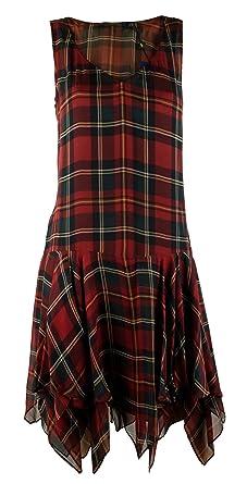 f30dc0882 Polo Ralph Lauren Women s Silk Plaid Handkerchief Dress-RG-8 Red Green